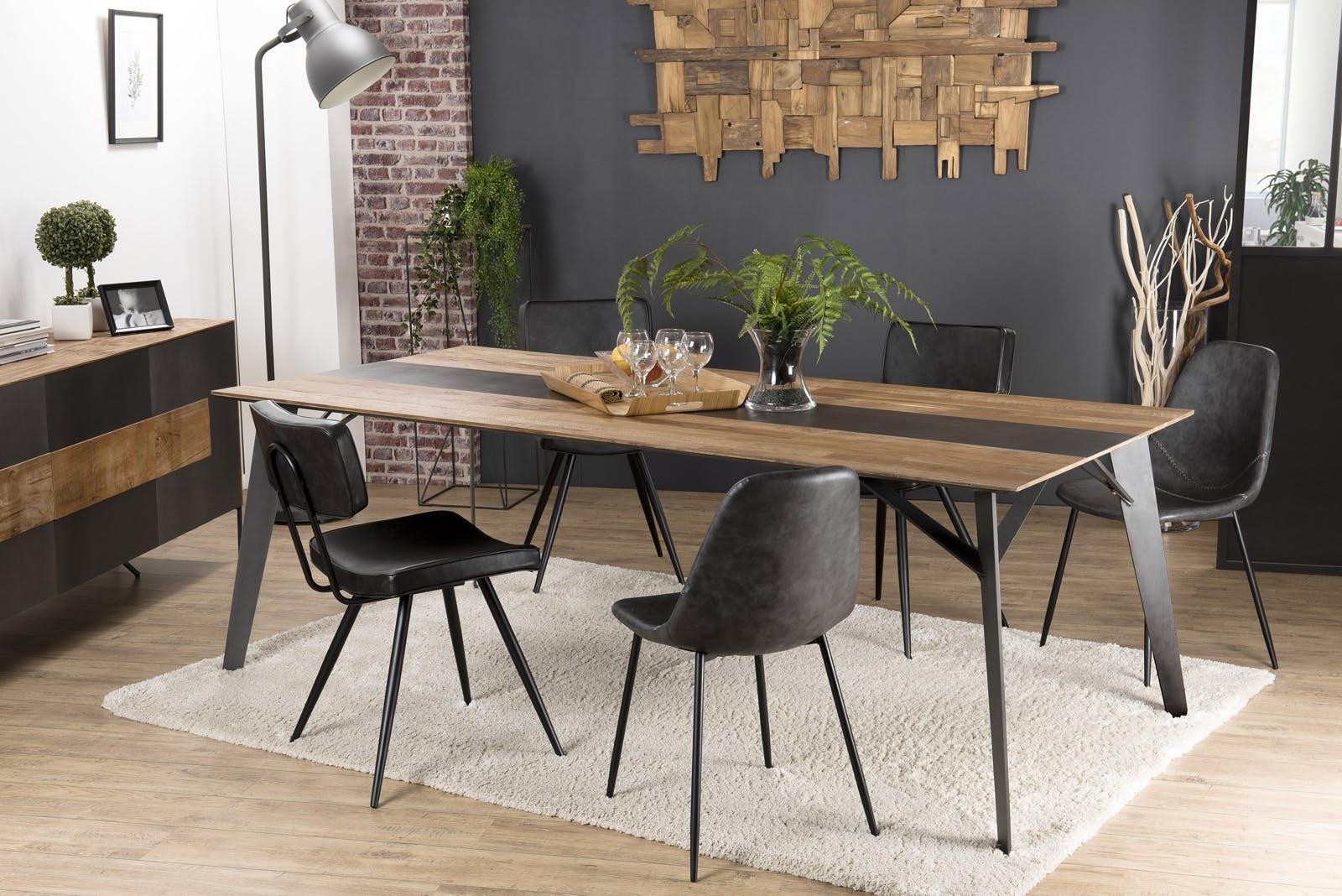 Table à manger industrielle teck recyclé 220x100 PANAMA