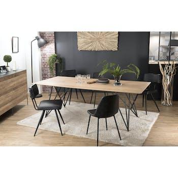 Table à manger bois de chêne pieds épingle 220x100 PANAMA