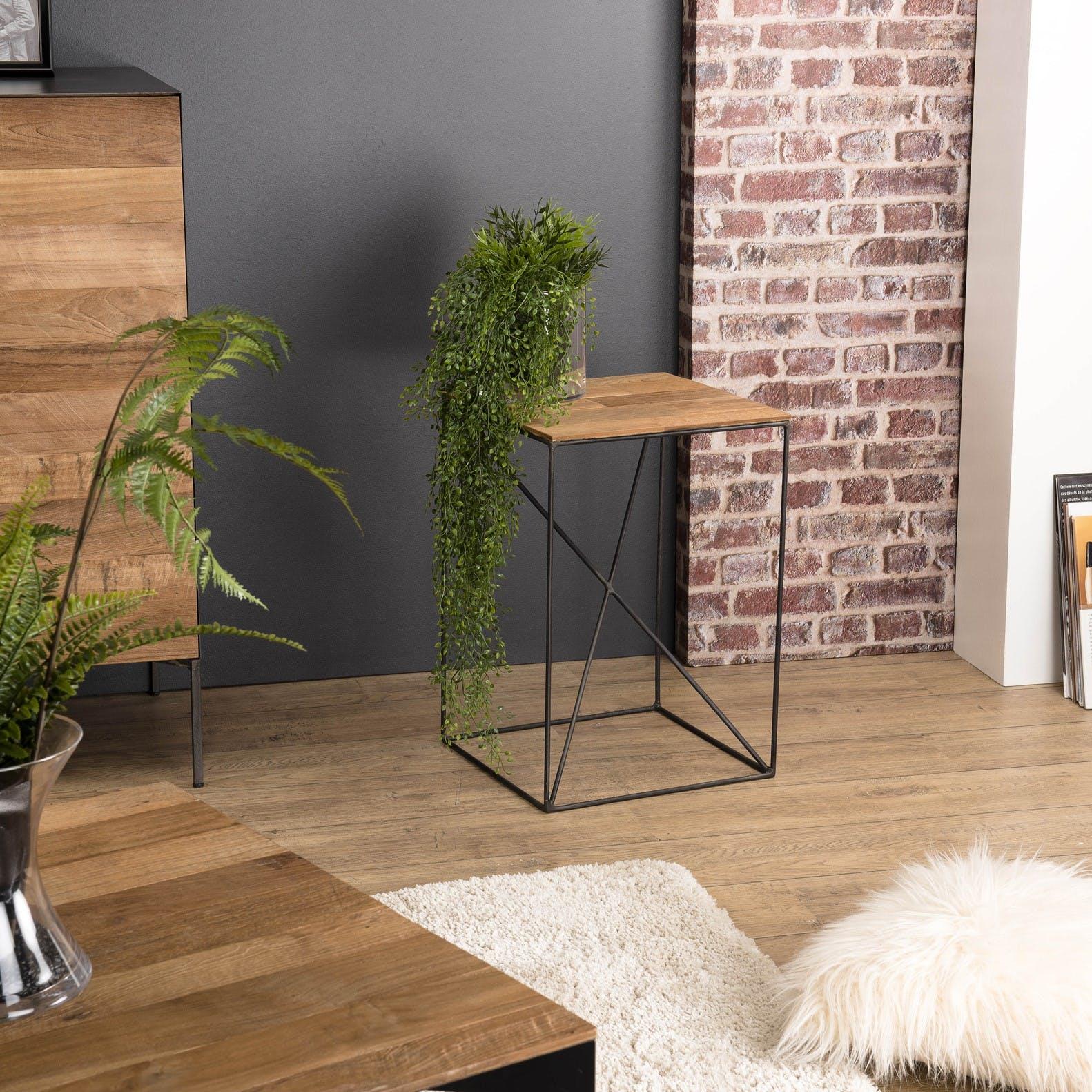 Table d'appoint industrielle bois recyclé PANAMA