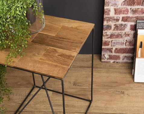 Table d'appoint industrielle bois recyclé PANAMA
