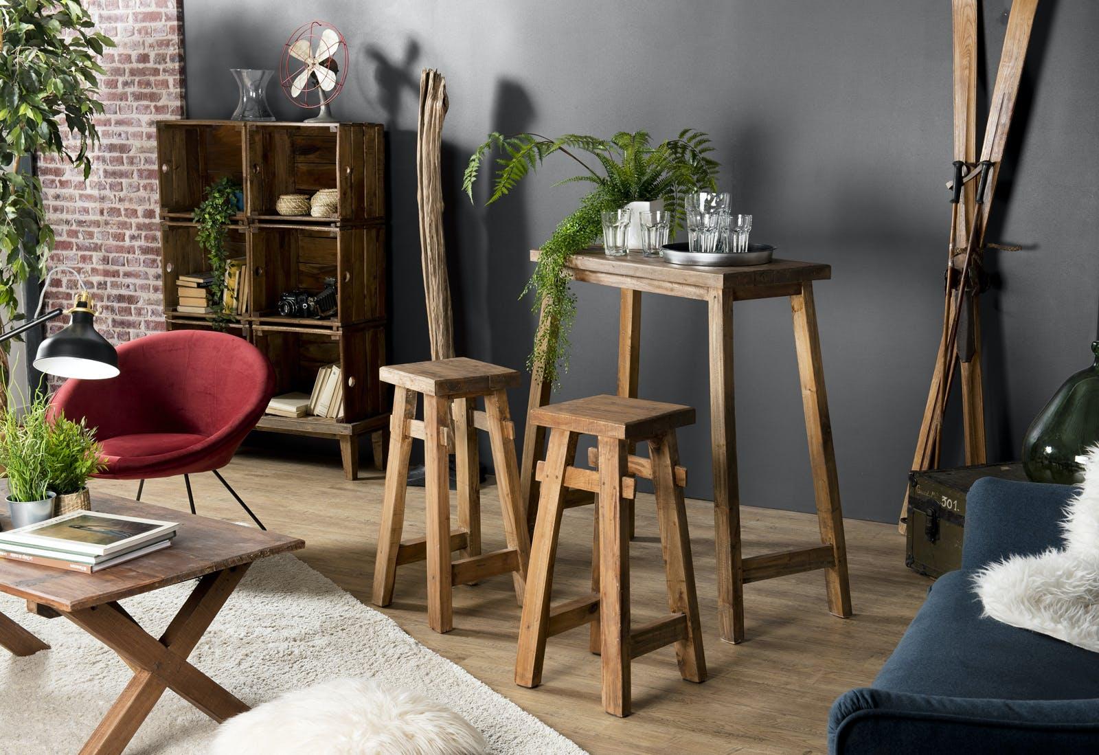 Table haute bois et ses 2 tabourets de bar (3 pièces) JODHPUR