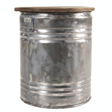 Table d'appoint bidon acier bois recyclé JODHPUR