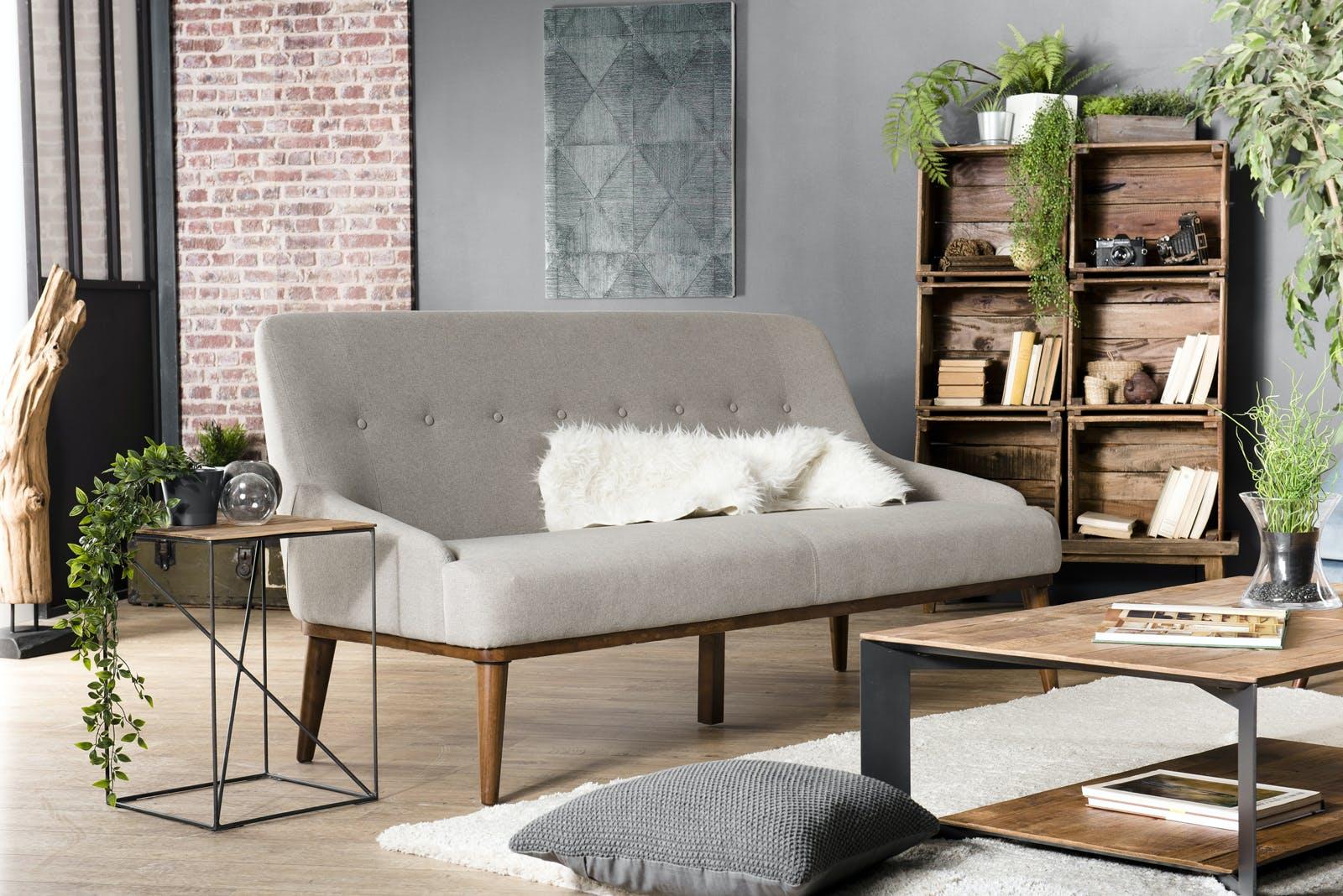 Canapé 2 places tissu écru STOCKHOLM