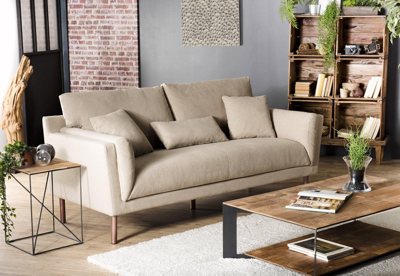 Canapé 3 places tissu écru beige STOCKHOLM