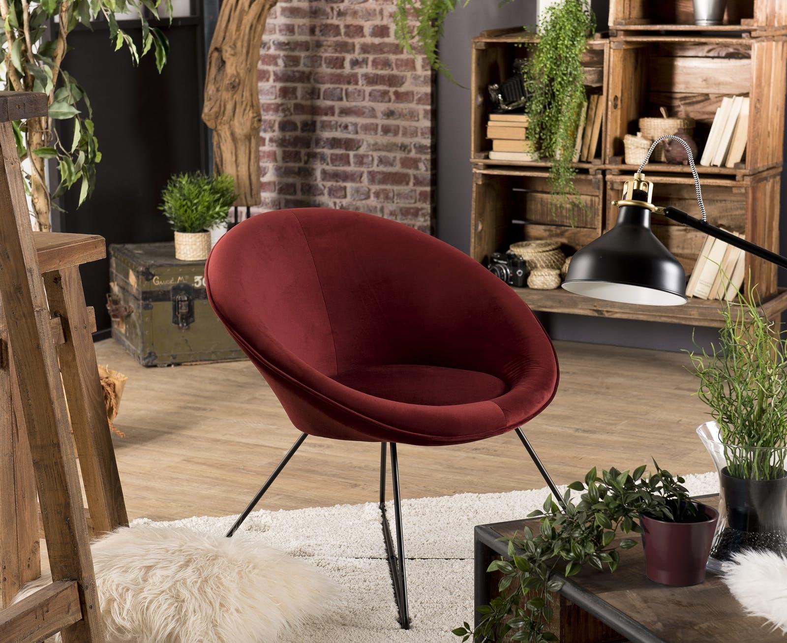 Fauteuil velours rouge bordeaux forme ronde STOCKHOLM