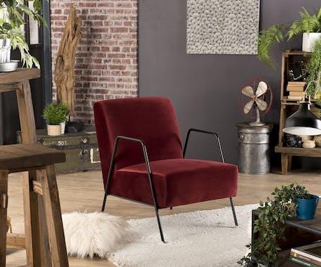 Fauteuil velours rouge bordeaux pieds métal STOCKHOLM