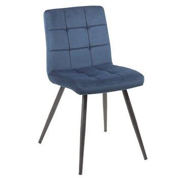 Chaise velours bleu MALMOE