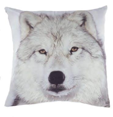 Coussin imprimé Tête de Loup noir et blanc 45x45cm