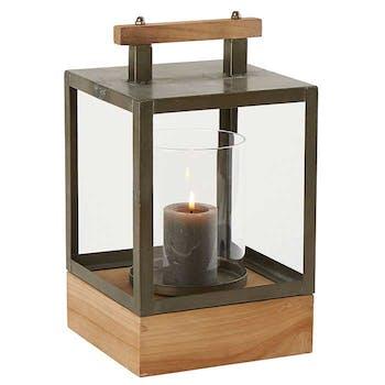 Lanterne rectangulaire en métal vieilli et socle bois 20x20xH35cm