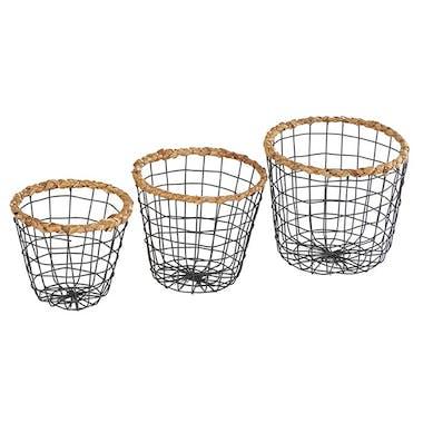 Set de 3 paniers ronds évasés en métal façon grillage gris foncé et roseau
