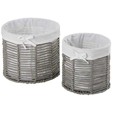 Set de 2 paniers ajourés gris avec doublure tissu en coton blanc D26x20cm et D21x20cm