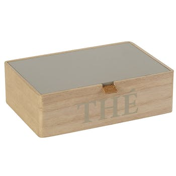 Boite à thé compartimentée en bois naturel et couvercle gris 23x7x15cm
