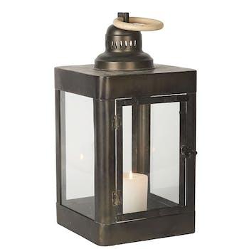 Lanterne en métal noir et anneau en bois blanc 20x40x20cm