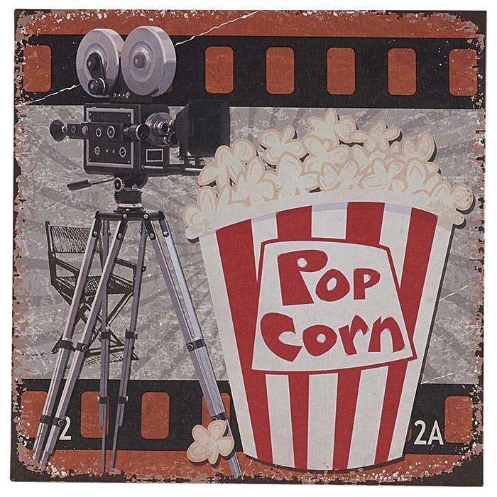 Tableau cornet de popcorn et caméra 28x28x1cm