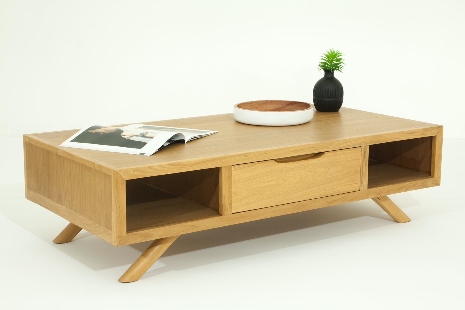 Table basse en Teck massif naturel 2 tiroirs et 2 niches traversantes 120x60x34cm FIFTEES