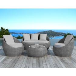 Salon de Jardin MALAGA 4 pièces en résine ronde tressée grise et coussins tissu gris clair