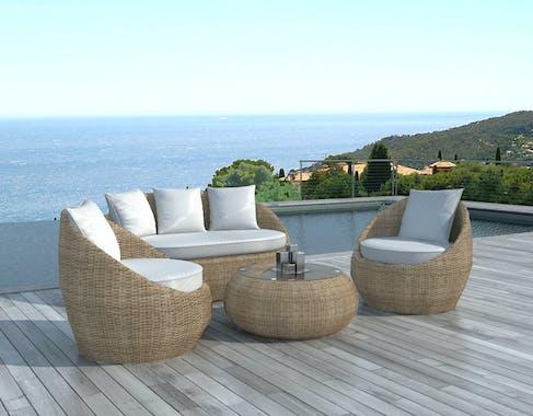 Salon de Jardin MALAGA 4 pièces en résine ronde tressée couleur rotin et coussins tissu blanc écru