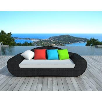 Canapé de Jardin BORNEO en résine ronde tressée noire et coussins tissu blanc écru et coloré