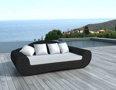 Canapé de Jardin BORNEO en résine ronde tressée noire et coussins tissu blanc écru
