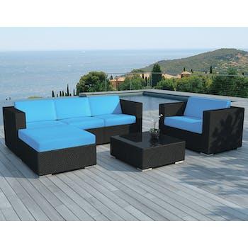 Salon de Jardin COPACABANA 6 pièces en résine noire et coussins tissu blanc écru + un jeu de housse tissu bleu