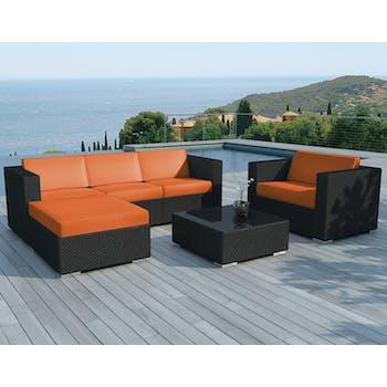 Salon de Jardin COPACABANA 6 pièces en résine noire et coussins tissu blanc écru + un jeu de housse tissu orange