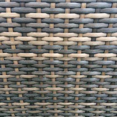 Chauffeuse COPA en résine couleur chocolat et coussins tissu blanc écru