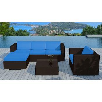 Salon de Jardin COPACABANA 6 pièces en résine couleur chocolat et coussins tissu blanc écru + un jeu de housse tissu bleu