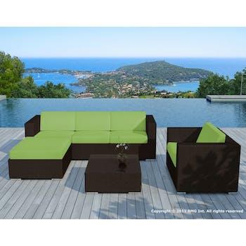 Salon de Jardin COPACABANA 6 pièces en résine couleur chocolat et coussins tissu blanc écru + un jeu de housse tissu vert