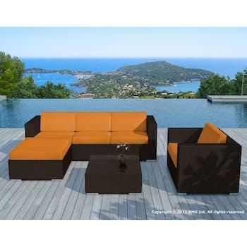 Salon de Jardin COPACABANA 6 pièces en résine couleur chocolat et coussins tissu blanc écru + un jeu de housse tissu orange