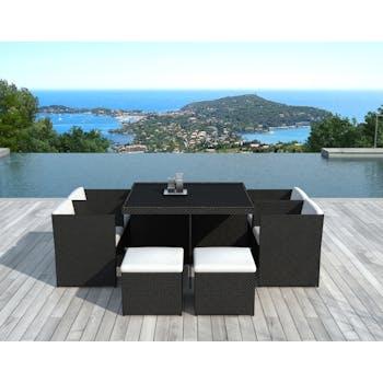 Ensemble de Repas PUERTO RICO 9 pièces encastrables 115x115cm en résine tressée noir et coussins tissu blanc écru