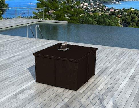 Ensemble de Repas PUERTO RICO 9 pièces encastrables 115x115cm en résine tressée couleur chocolat et coussins tissu blanc écru