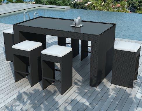 Ensemble Bar de Jardin BARRIO 7 pièces 200cm en résine tressée noire et coussins tissu blanc écru