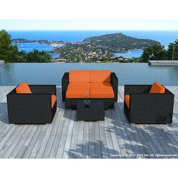 Salon de Jardin PAUSA 6 pièces en résine tressé noire et coussins tissu blanc écru + jeu de housses tissu orange