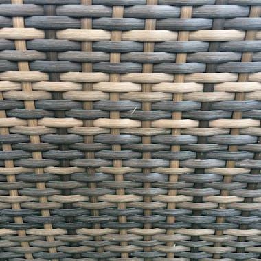 Bain de Soleil Double DARWIN en résine tressée couleur chocolat et coussins tissu blanc écru