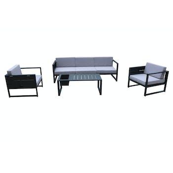Salon de Jardin SUN 4 pièces en aluminium gris anthracite et coussins tissu gris clair