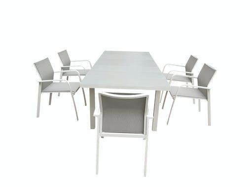 Table de Jardin extensible NICE 180/240cm en aluminium blanc gris et plateau verre blanc gris
