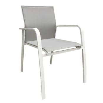 Fauteuil de Jardin NICE en aluminium blanc gris et textilène couleur taupe