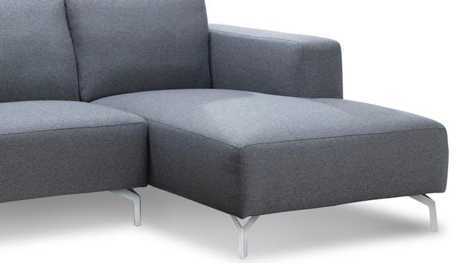Canapé d'Angle (angle droit) tapissier gris et pieds acier chromé 251,5x93,5/150x80cm TIM