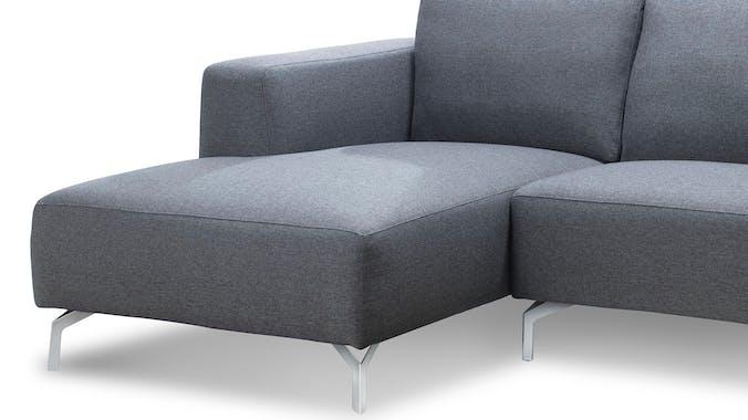 Canapé d'Angle (angle gauche) tapissier gris et pieds acier chromé 251,5x93,5/150x80cm TIM