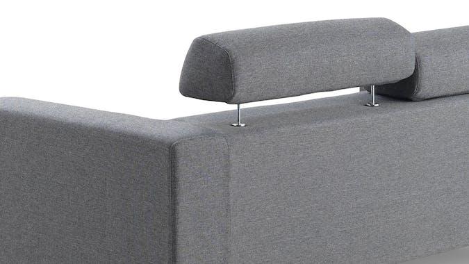 Canapé 3 places tapissier gris et pieds acier chromé 197x88,5x78cm PURE