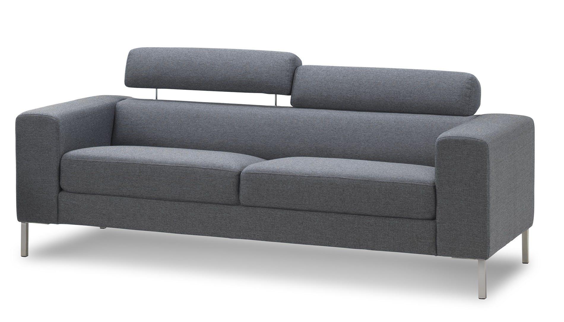 Canapé 2 places tapissier gris et pieds acier chromé 157x88,5x78cm PURE