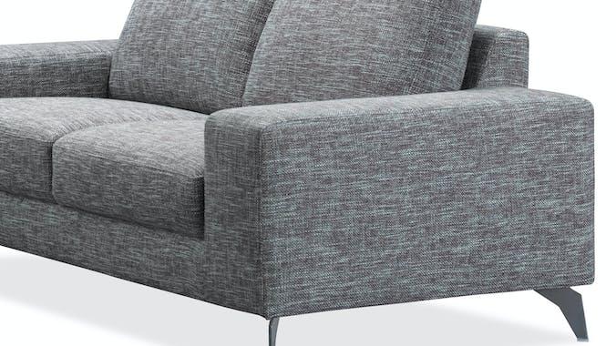 Canapé 2 places tapissier gris chiné et pieds acier chromé 179,5x95,5x84cm JAZZ NARBONNE
