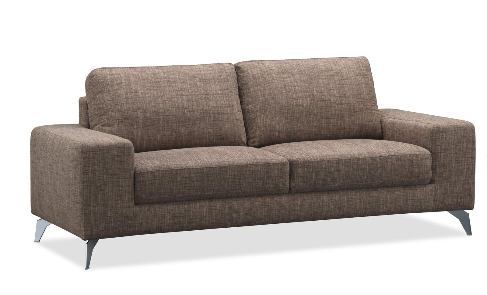 Canapé 2 places tapissier marron et pieds acier chromé 179,5x95,5x84cm JAZZ MENDE