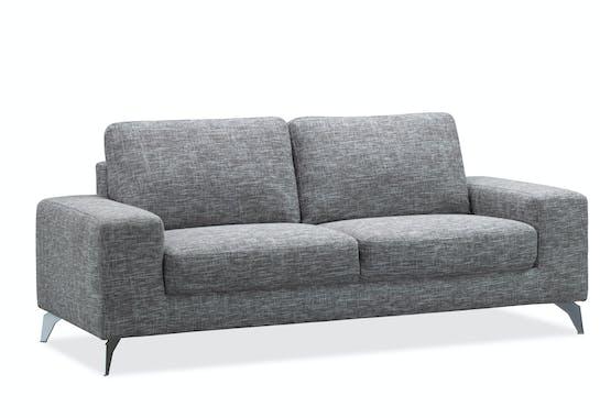 Canapé 3 places tapissier gris chiné et pieds acier chromé 199,5x95,5x84cm JAZZ MENDE