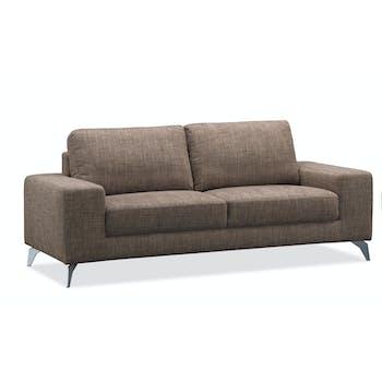 Canapé 3 places tapissier marron et pieds acier chromé 199,5x95,5x84cm JAZZ MENDE
