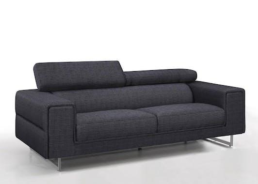 Canapé tapissier 3 places tissu gris foncé et pieds acier chromé 223,5x99,5x83,5cm STREET