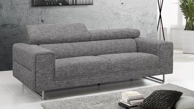 Canapé tapissier 3 places tissu gris chiné et pieds acier chromé 223,5x99,5x83,5cm STREET