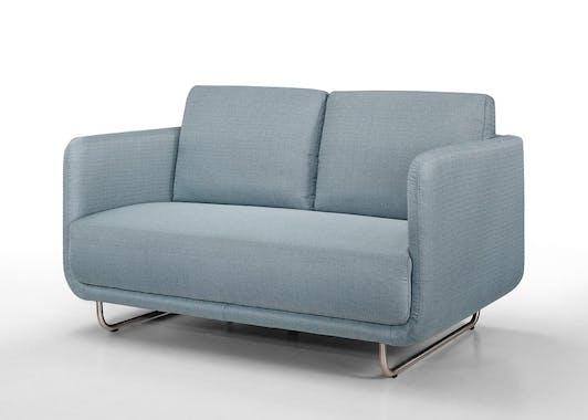 Canapé tapissier 2 places tissu bleu et pieds acier chromé 146,5x88x83cm RUN
