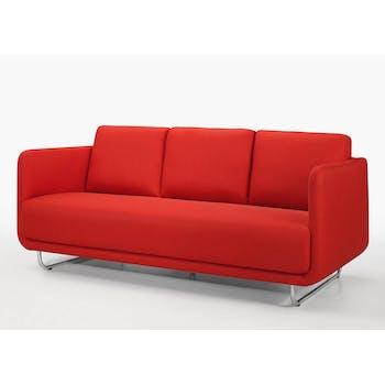 Canapé tapissier 3 places tissu rouge et pieds acier chromé 197,5x88x83cm RUN
