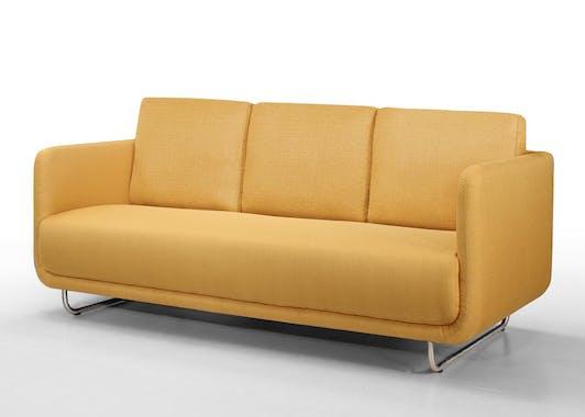 Canapé tapissier 3 places tissu jaune et pieds acier chromé 197,5x88x83cm RUN